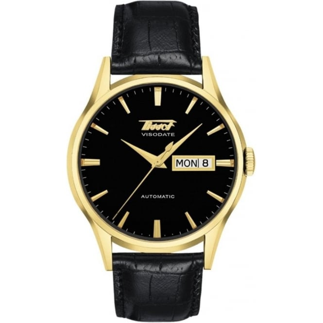 Tissot Men's Visodate Automatic Yellow Gold PVD Black Dial Strap Watch