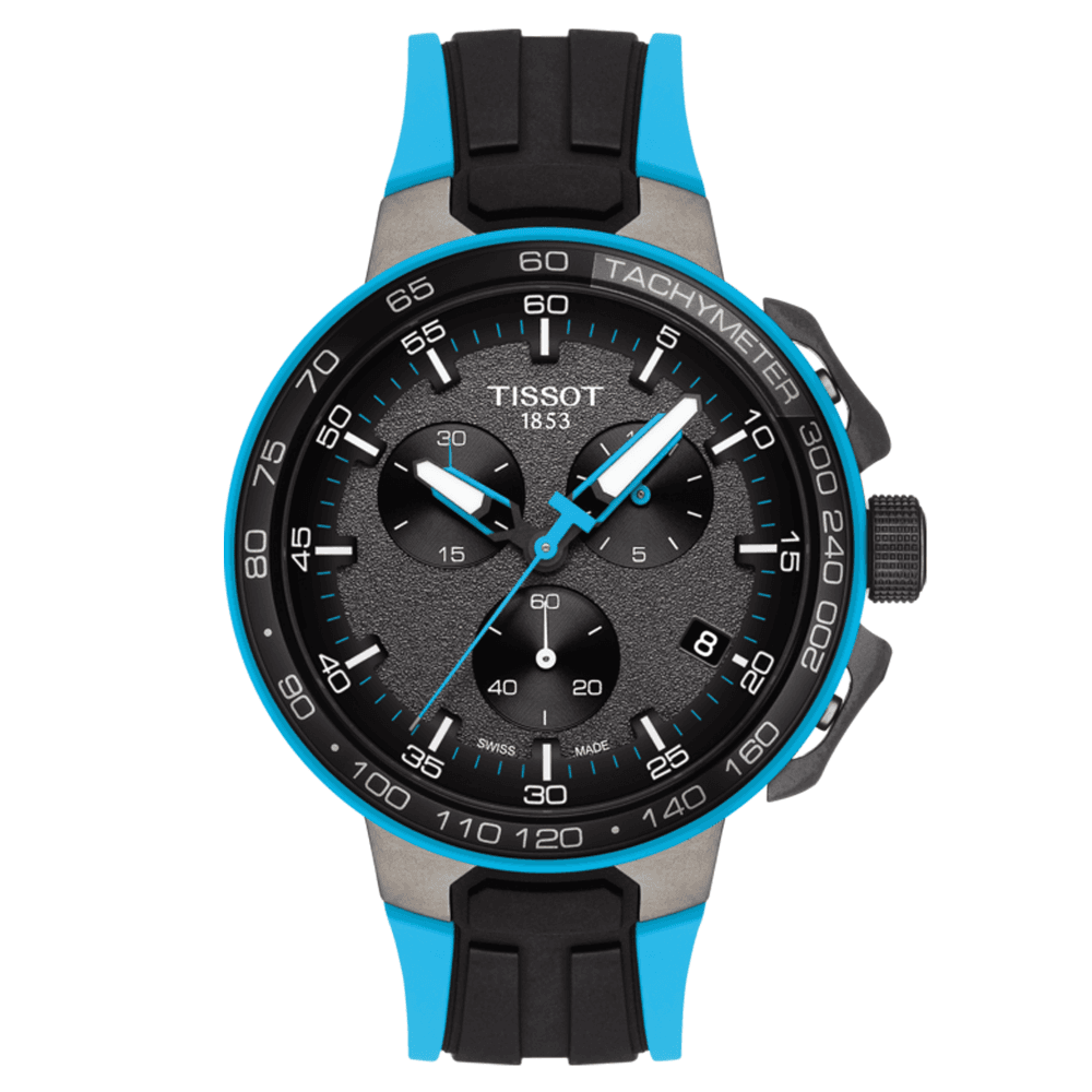Tissot T Race Cycling Chronograph Watch Bronze Dial Black Blue Silicone Strap