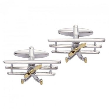 Tri-Plane Stainless Steel & Gold Vermeil Cufflinks