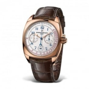 Vacheron Constantin Harmony 18K Rose Gold Limited Edition Handwound Chronograph Silver Dial Strap Watch
