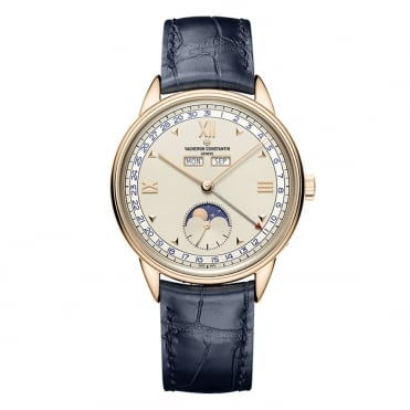 Historiques Triple Calendrier 1948 18K Rose Gold Handwound Silver Dial Strap Watch