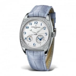 Vacheron Constantin Ladies 18K White Gold Harmony Dual Time Diamond Bezel / White Dial Strap Watch