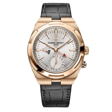 Overseas 18K Rose Gold Dual Time Silver Dial Strap Watch