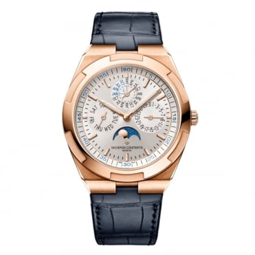 Overseas 18K Rose Gold Ultra-Thin Perpetual Calendar Silver Dial Strap Watch