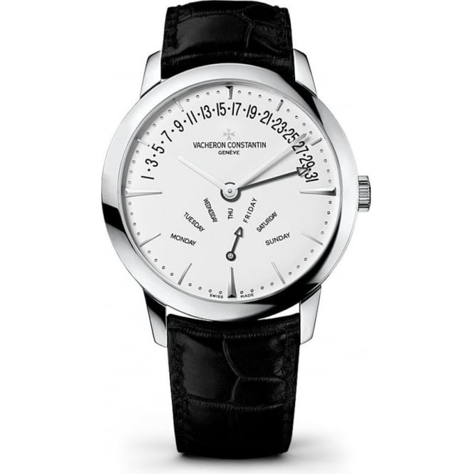 Vacheron Constantin Patrimony 18K White Gold Retrograde Day-Date Automatic Silver Dial Strap Watch