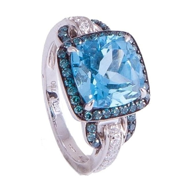 Owen & Robinson White Gold Dress Ring with Blue Topaz and Diamond