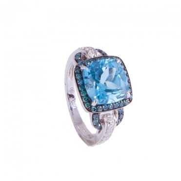 White Gold Dress Ring with Blue Topaz and Diamond