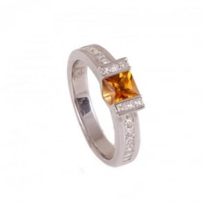 Owen & Robinson White Gold Dress Ring with Citrine and Diamond Shoulder Gemstones