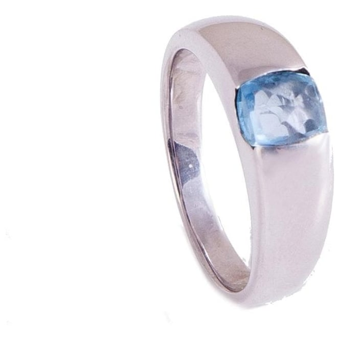 Owen & Robinson White Gold Dress Ring with Fancy Cut Blue Topaz