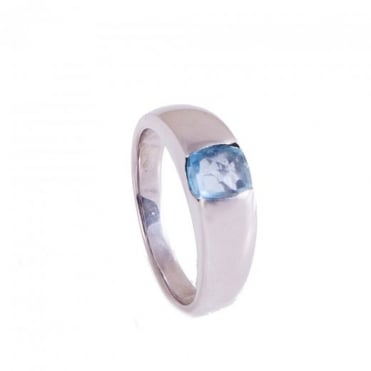 White Gold Dress Ring with Fancy Cut Blue Topaz