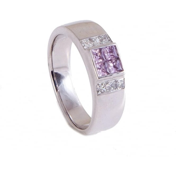 Owen & Robinson White Gold Dress Ring with Pink Sapphire and Diamond Shoulders