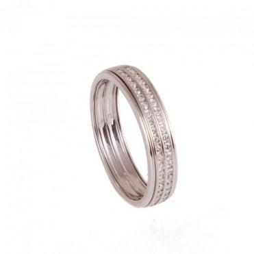 Owen & Robinson White Gold Duo Row Brilliant Round Diamond Wedding Band