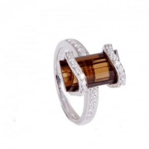 Owen & Robinson White Gold Ring with Whisky Quartz and Diamond