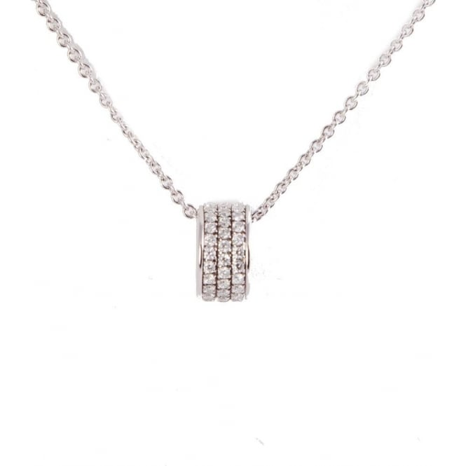 Owen & Robinson White Gold Tri Open Circle Diamond Pendant