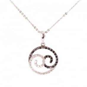 Owen & Robinson White Gold Ying and Yang Pendant with Black & White Diamonds