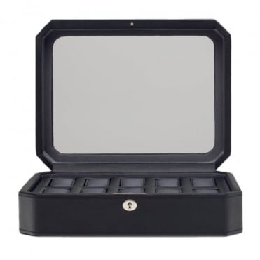Wolf Designs 10 Piece Watch Box with Cover in Black / Grey