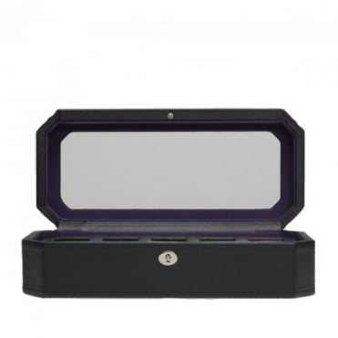 Wolf Designs 5 Piece Watch Box with Cover in Black / Purple