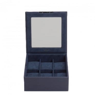 Wolf Designs Stackable 6 Piece Watch Tray with Lid in Navy