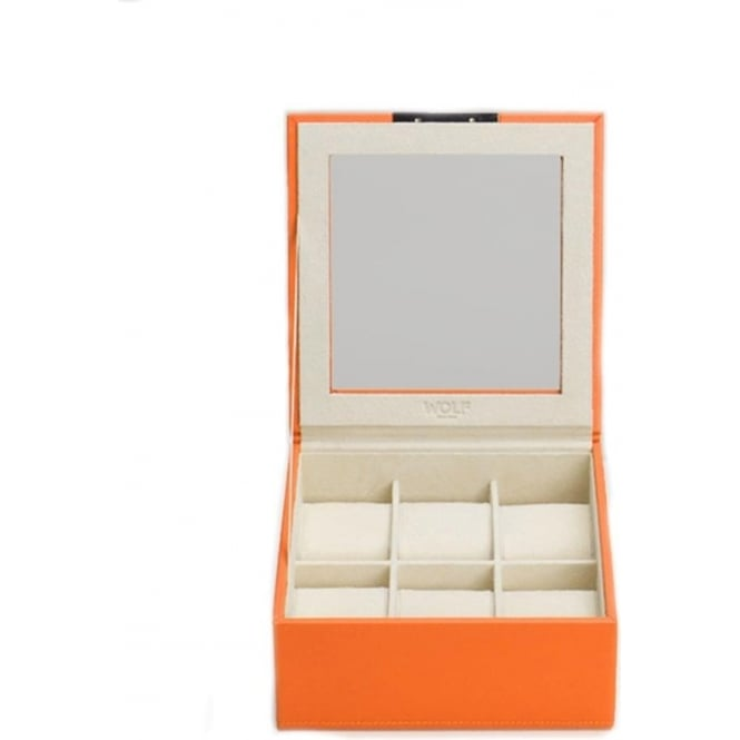 Wolf Designs Stackable 6 Piece Watch Tray with Lid in Orange