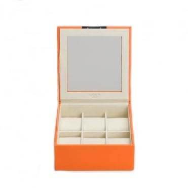 Stackable 6 Piece Watch Tray with Lid in Orange