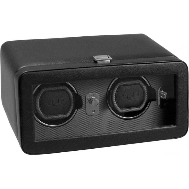 Wolf Designs Windsor Double Watch Winder in Black and Grey