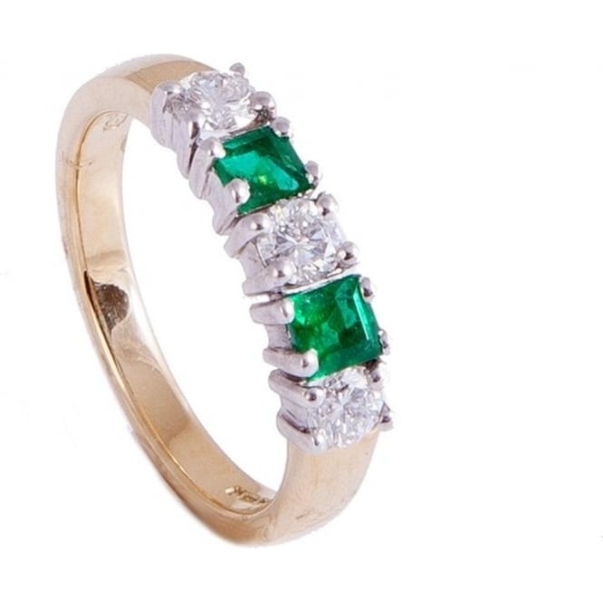 Owen & Robinson Yellow Gold Dress Ring with Emerald and Diamond
