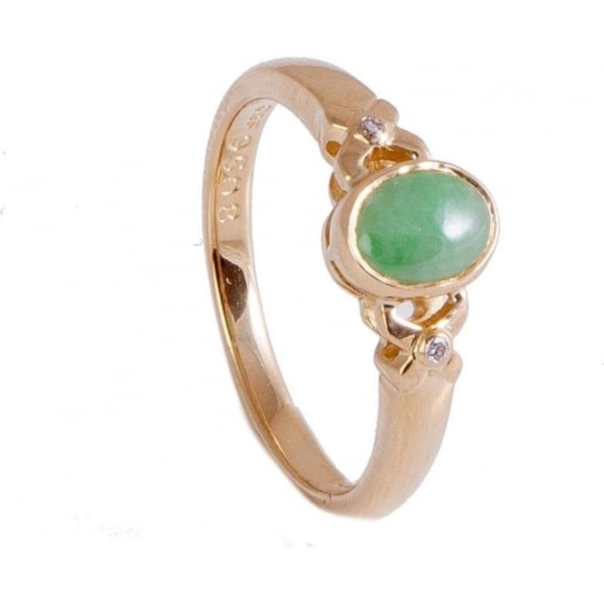 Owen & Robinson Yellow Gold Dress Ring with Jade and Diamonds
