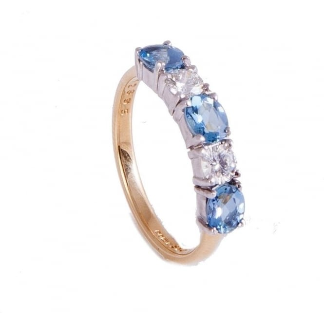 Owen & Robinson Yellow Gold Dress Ring with Oval Cut Aquamarines & Round Brilliant Diamonds