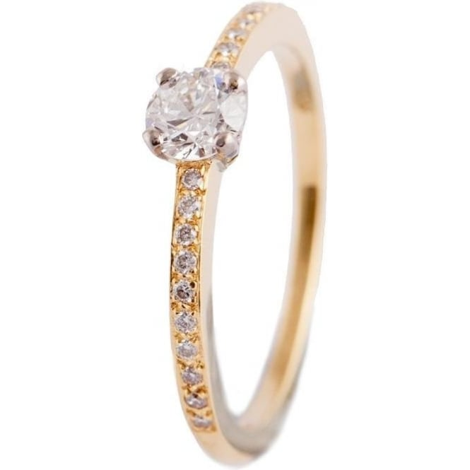 Owen & Robinson Yellow Gold Engagement RIng with Round Brilliant Cut Diamonds and shoulders