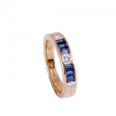 Owen & Robinson Yellow Gold Eternity Ring with Sapphire and Diamond
