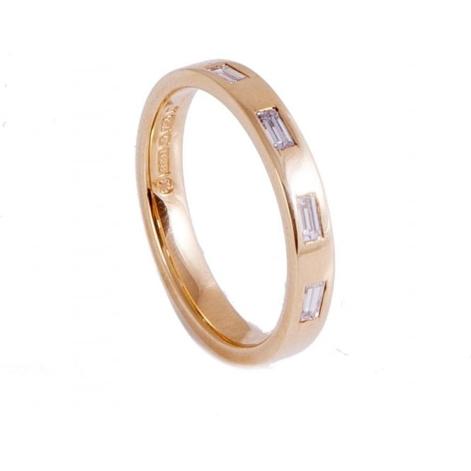 Owen & Robinson Yellow Gold Wedding Band with Four Emerald Cut Diamonds