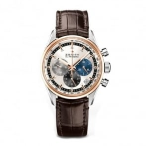 Zenith Chronomaster: El Primero 38mm Automatic Chronograph 18K Rose Gold Bezel / Silver Dial Strap Watch
