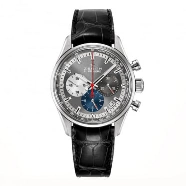 Zenith Chronomaster: El Primero 38mm Automatic Chronograph Grey Dial Strap Watch