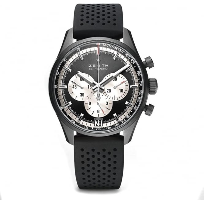 Zenith Chronomaster: El Primero 42mm Black Ceramicised Aluminium Black / Silver Dial Strap Watch