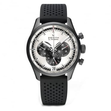 Zenith Chronomaster: El Primero 42mm Black Ceramicised Aluminium Silver / Black Dial Strap Watch