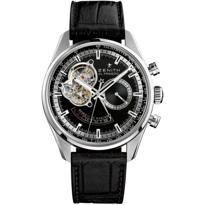 Zenith Chronomaster: El Primero Power Reserve 42mm Automatic Chronograph Black Dial Strap Watch