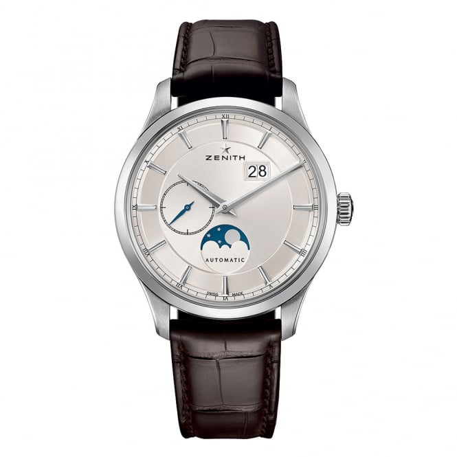 Zenith Elite: Moonphase Automatic Silver Dial Strap Watch