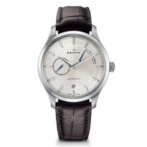 Zenith Elite: Power Reserve Automatic Silver Dial Strap Watch