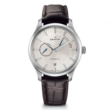 Elite: Power Reserve Automatic Silver Dial Strap Watch
