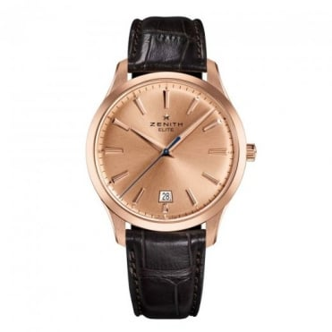 Zenith Gentlemen's 18K Rose Gold Elite Central Seconds Automatic Rose Gold Dial Strap Watch