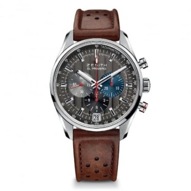 Zenith Gentlemen's El Primero 36,000VpH 'Classic Cars' Automatic Chronograph Anthracite Dial Strap Watch