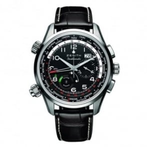Zenith Gentlemen's Heritage: Icons Doublematic Black Dial Strap Watch