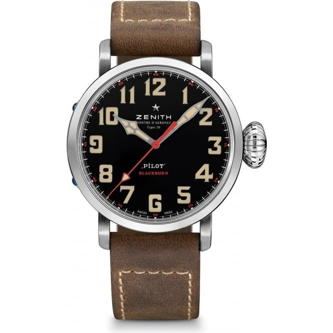 Zenith Gentlemen's Pilot Type 20 Extra Special 'Blackburn' Limited Edition Automatic Black Dial Strap Watch