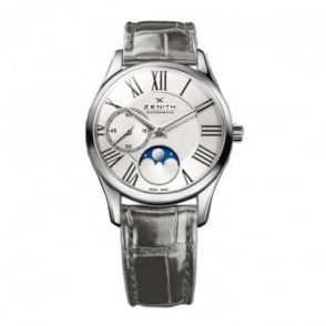 Zenith Ladies Elite Ultra Thin Moonphase Automatic Silver Dial Strap Watch