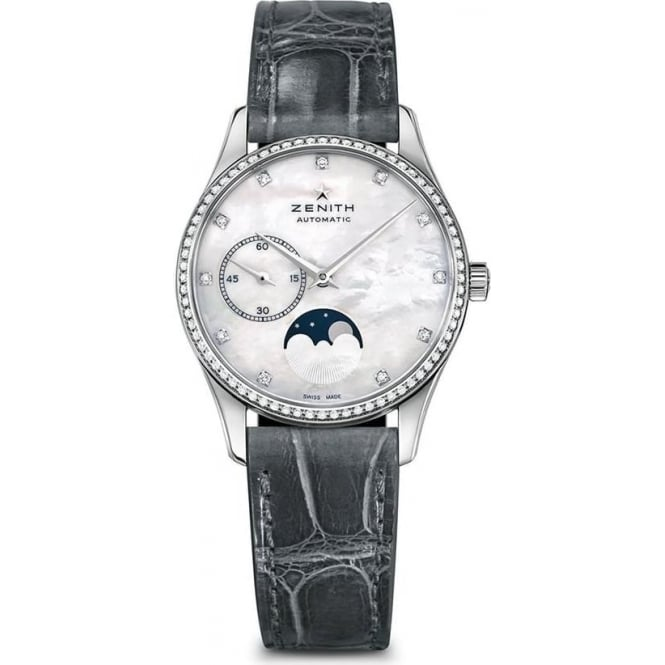 Zenith Ladies Elite Ultra Thin Moonphase Diamond Bezel / Mother of Pearl Dial Strap Watch