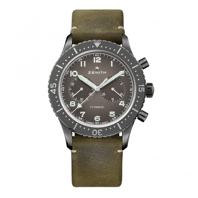 Zenith Pilot: Cronometro Tipo CP-2 Aged Steel Automatic Chronograph Slate Grey Dial Strap Watch