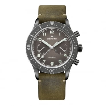 Pilot: Cronometro Tipo CP-2 Aged Steel Automatic Chronograph Slate Grey Dial Strap Watch