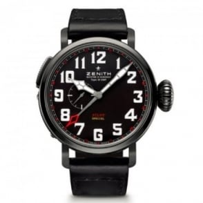 "Zenith Pilot: Type 20 GMT ""Red Baron"" Limited Edition Black Dial Strap Watch"